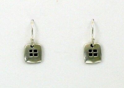Far Fetched Sterling Silver 4 Elements Square Dangle Earrings