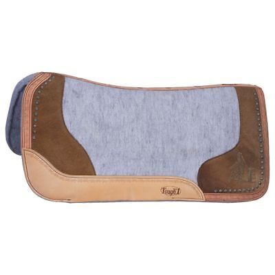 32X32 Tough 1 Felt Grey Motif Oil Leather Barrel Racer Saddle Pad Hair On Accent