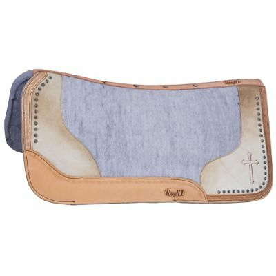 32X32 Tough 1 Felt Grey Motif Oil Leather Cross Saddle Pad Hair On Accents