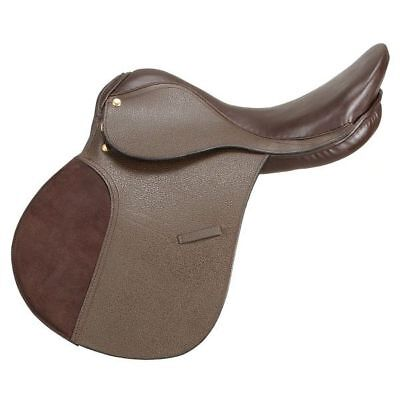 """15"""" Tough 1 Silver Fox All Purpose Leather Horse Saddle Padded Flap Brown"""