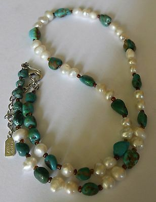 Peyote Bird,Turquoise & Pearl  Necklace