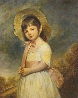 18th Century English Master Portrait Girl Antique Oil Painting Joshua REYNOLDS