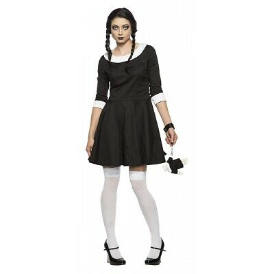 Ladies Halloween Pugsley Addams Fancy Dress 4pc Set Wednesday Brother Kit Adult Damenkostüme Kleidung & Accessoires