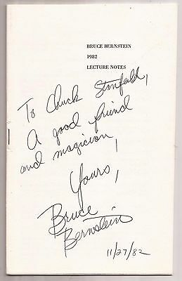 BRUCE BERNSTEIN LECTURE NOTES 1982 Signed