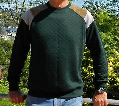 VINTAGE Brave Soul Sigmund Green Shoulder Inserts Quilted Sweater