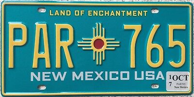 GENUINE New Mexico Land of Enchantment USA Licence License Plate PAR 765