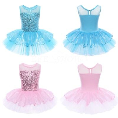 Girls Kids Dance Dress Ballet Gym- Tutu Sequinned Party Princess Clothes Costume