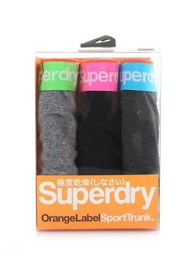 Superdry Triple Pack Boxer Shorts Men Orange Label Sports Trunk Black Fleck