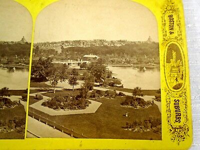 Antique Stereoview Card America Illustrated Boston & Suburbs Public Garden