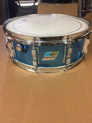 """Ludwig 1970s 14"""" x 5"""" Vistalite Snare Drum clear Light Blue shell w/ 10 lugs VGC"""