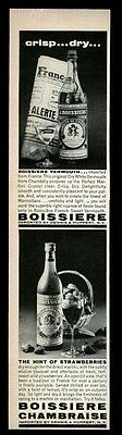 1963 Boissiere vermouth & Chambrais wine photo vintage print ad