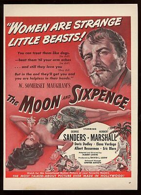 1942 WSomerset Maugham The Moon and Sixpence movie release vintage print ad