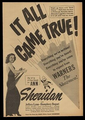 1940 Ann Sheridan photo It All Came True movie trade print ad
