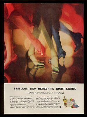 1958 Berkshire red green blue stockings vintage fashion print ad