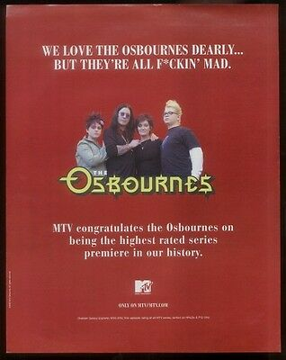 2002 Ozzy & The Osbournes photo MTC TV show vintage print ad