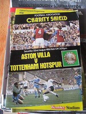 1981 Charity Shield Aston Villa v Tottenham Hotspur 22.8.1981