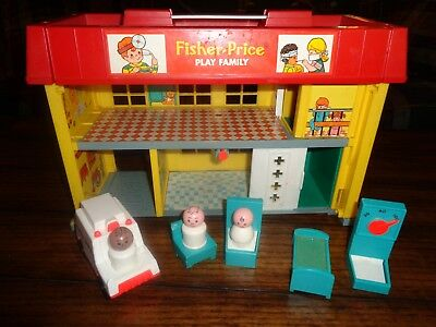 VIntage Fisher Price Little People Play Family Children's Hospital & Accessories