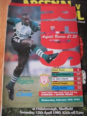 1994-95 Liverpool v Crystal Palace League cup Semi Final 1st leg 15.2.1995