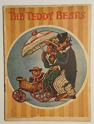 c1915 THE TEDDY BEARS Children's Color Litho Booklet American Colortype Co.