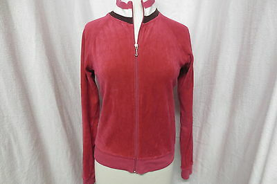 Juicy Couture Hot Pink Velour Track Jacket Brown Stripes Sz Large Girls