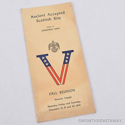 1943 MASONIC FALL REUNION & WORK MEETING BOOKLET Columbus OH Ohio
