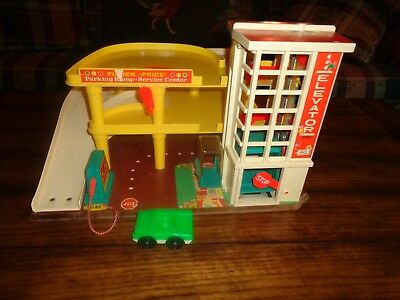 VIntage Fisher Price Little People Parking Ramp Service Center & Car