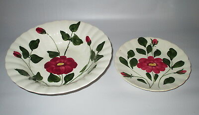 Blue Ridge Southern Potteries Red Nocturne Vegetable Bowl + Salad Plate USA