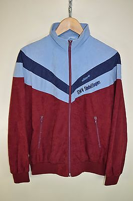 vtg 80s ADIDAS RETRO CASUALS VELOUR TRACK JACKET TRACKSUIT TOP SIZE D5 SMALL
