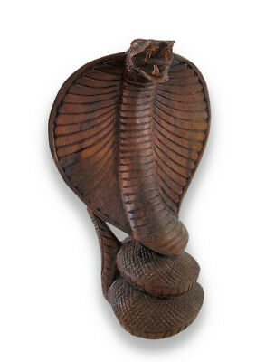 Zeckos Scratch & Dent Hand-Carved Wooden King Cobra Sculpture Statue