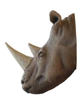 Rhinoceros Head Wall Mount Display Resin Decor Statue Rhino Wild Animal
