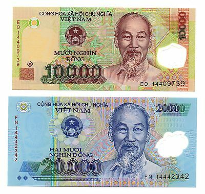 VIET NAM 10,000 and 20,000 Dong - A Set of 2 Crisp UNC Polymer Banknotes