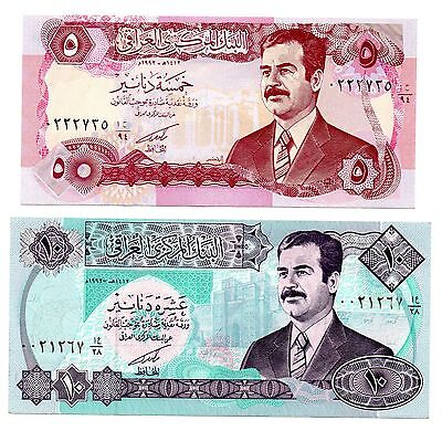 IRAQ 5 and 10 [SADDAM HUSSEIN] Dinars [1992] - A Set of 2 Crisp UNC Banknotes