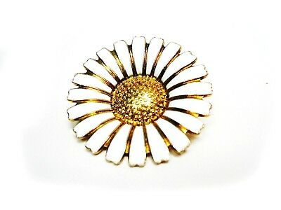 Made in Denmark Gold Washed Silver Enamel Sunflower Brooch Signed B.H.