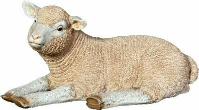 Sheep Merino Lamb Laying Resin Statue Farm Display Prop Decor