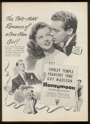 1947 Shirley Temple photo Honeymoon movie release vintage print ad