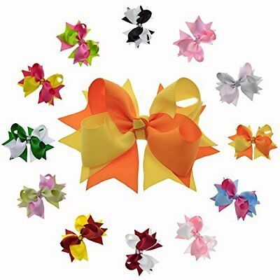 Beautiful Hair Bows w/ Two Tone Twisted Pattern for Women Little Girls - 12 Pcs