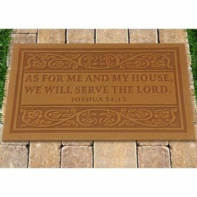 """Best Door Mat - """"As for Me and My House"""" Bible verse from Joshua 24:15 (Tan)"""