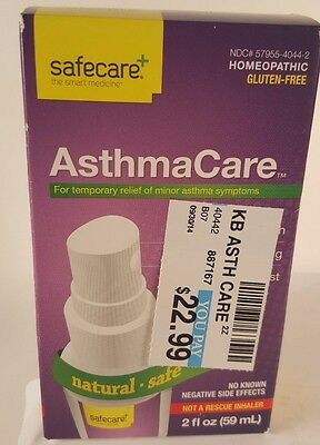 Safecare AsthmaCare 2 oz Homeopathic Spray Asthma Care minor symptoms Exp 09/18