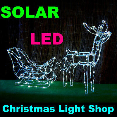 SOLAR 3D Reindeer Sleigh WHITE LED Fairy Lights Outdoor Christmas Display Deer