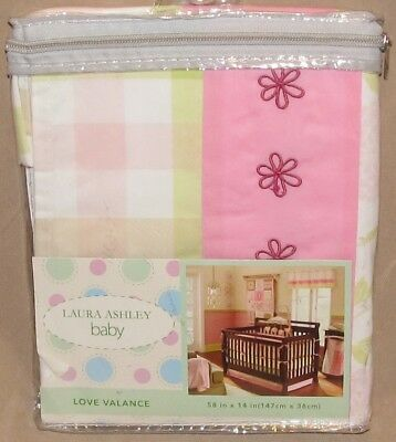 Laura Ashley Baby Love Pink White Green Nursery Window Valance Pole Top Girl New