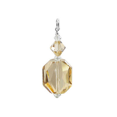 Swarovski Elements Golden Shadow Crystal Charm 925 Silver 25 x 15mm Pendant