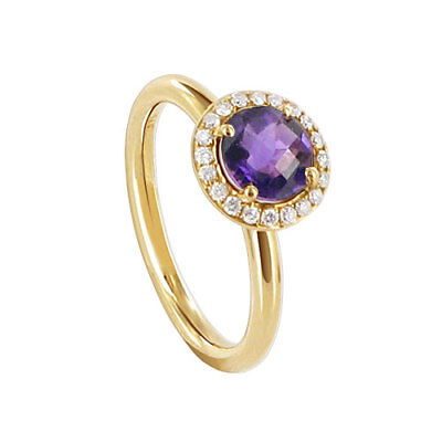 14k Yellow Gold 9mm Round Amethyst Gemstone with Diamond accents Ring Size 6