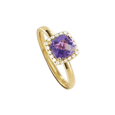 14k Yellow Gold 8mm Square Amethyst Gemstone with Diamond accents Ring Size 6
