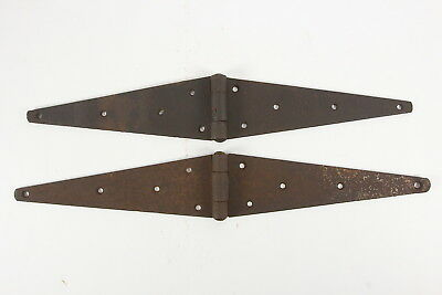 2 Non-Matching Lg Iron Hinges Barn Gate Primitive Hardware Antique Industrial