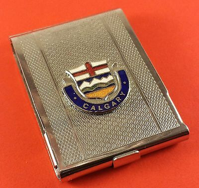 Vintage Metal Match Book Case With Calgary Crest / North America Map 58mm x 41mm