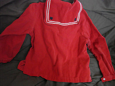 Vintage 60s Girls Childs Top Tunic SAILOR Red Corduroy 10 GC Cotton