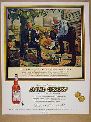 1960 daniel webster & james crow at distillery art Old Crow vintage print Ad