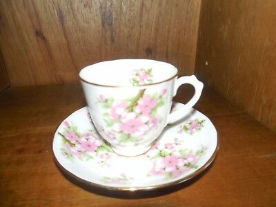 New Chelsea Staffs ~ Pink Floral w/ gold rim ~ Small Tea Cup & Saucer - ENGLAND