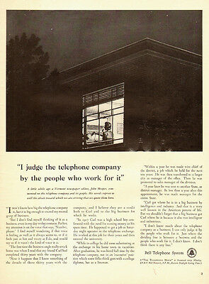 1941 vintage AD Bell Telephone System, Art Telephone Operator at Night 091414
