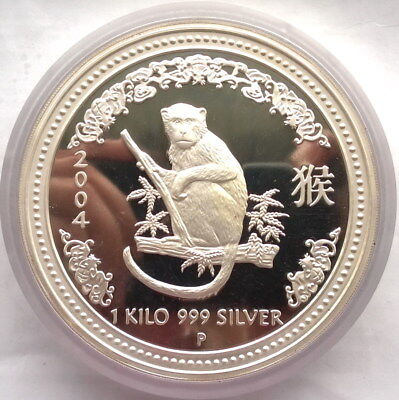 Australia 2004 Year of Monkey 30 Dollars 1Kilo Silver Coin,Proof,Rare!